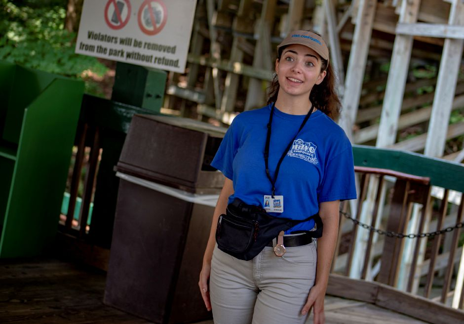 Samantha McGrail, 20, talks about being part of the team making sure guests enjoy taking on a ride on Boulder Dash at Lake Compounce. | Richie Rathsack, Record-Journal