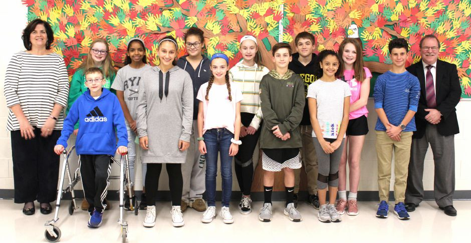 October Students of the Month: Sue Vitcavage,  Asst. Principal; Ryan Smith; Lauren Mellitt; Elise Ryan; Maggie Wernicki; Brianne Brown; Auria Mullins; Anna Coviello; Jack Breen; Aiden Buck; Samantha Marrero; Reese Tindall; TJ Riccio, Richard Terino, Principal
