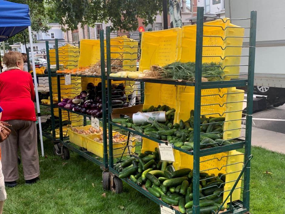 Produce available at the Greszcyk Farms table during The Southington Farmers Market on Friday, August 30, 2019. The market runs every Friday on the Town Green from 3 to 6 p.m. | Bailey Wright, Record-Journal