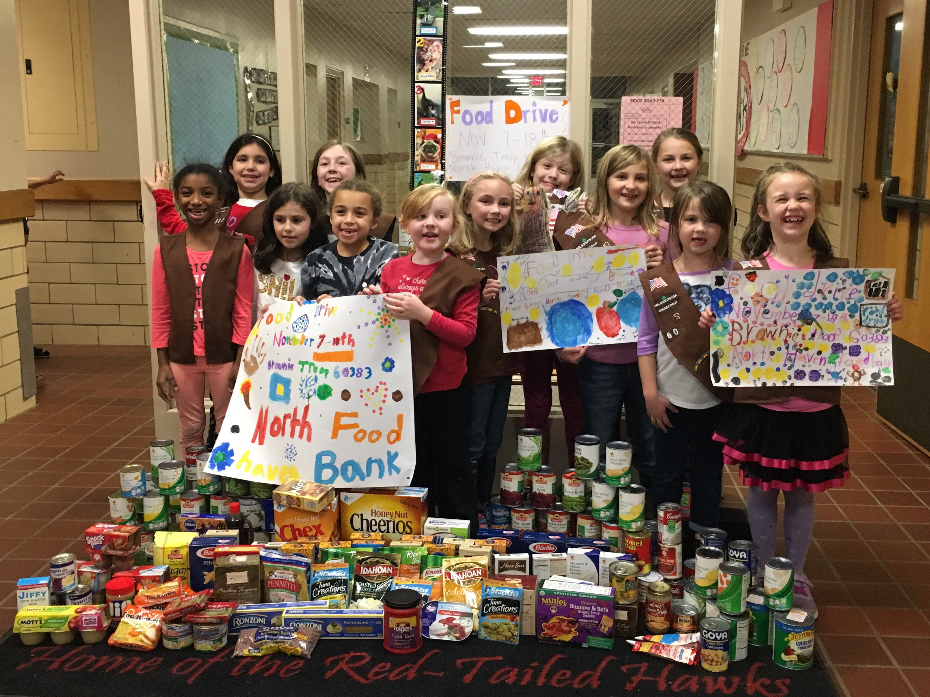 Brownie Troop 60383 of Ridge Road Elementary School in North Haven held its second annual Thanksgiving food drive as part of the troop's community service work. The troop organized, collected and donated more than 165 pounds of food to the North Haven Food Bank.