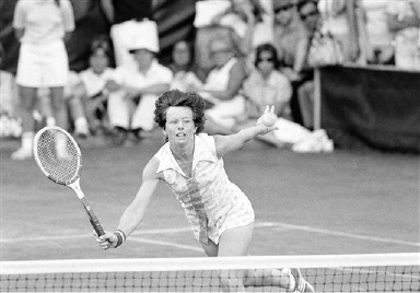 Billie Jean King in action against Sharon Walsh at the U.S. Open tennis matches in Forest Hills, New York on August 31, 1974. (AP Photo/Dave Pickoff)