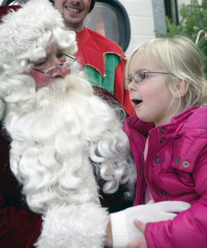 SOUTHINGTON, Connecticut - Thursday, December 3, 2009 - Krista Canney, 3 years old from Plantsville, tells Santa what she