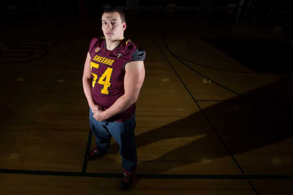 Sheehan senior lineman Stephen Zenisky was recently named the SCC Tier 3 football player of the year. Zenisky played left tackle on offense and rotated at every position on the defensive line. | Justin Weekes / For the Record-Journal