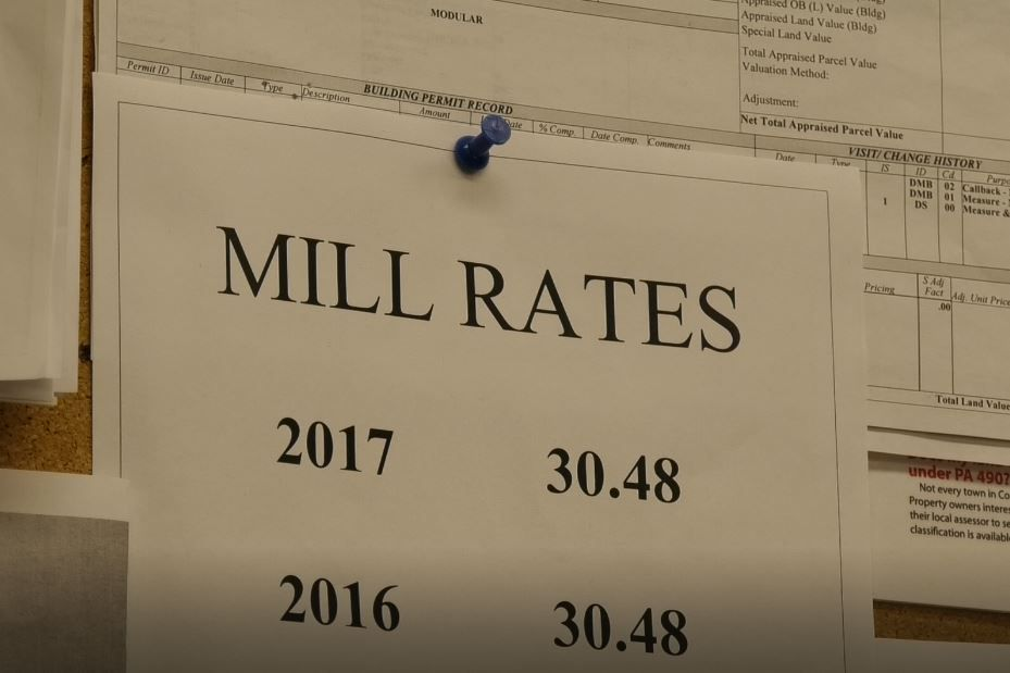 A list of mill rates in the office of Southington Director of Assessment and Revenue Teresa Babon, Wednesday, March 6, 2019. |Ashley Kus, Record-Journal