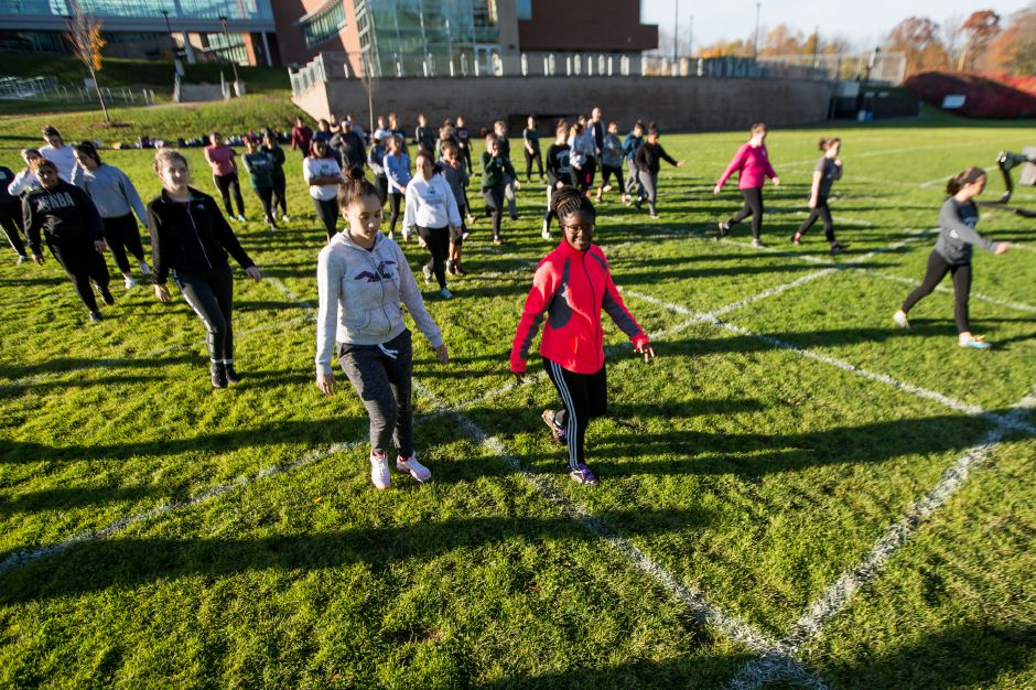 Wednesday during powder puff practice at Maloney High School in Meriden November 7, 2018 | Justin Weekes / Special to the Record-Journal