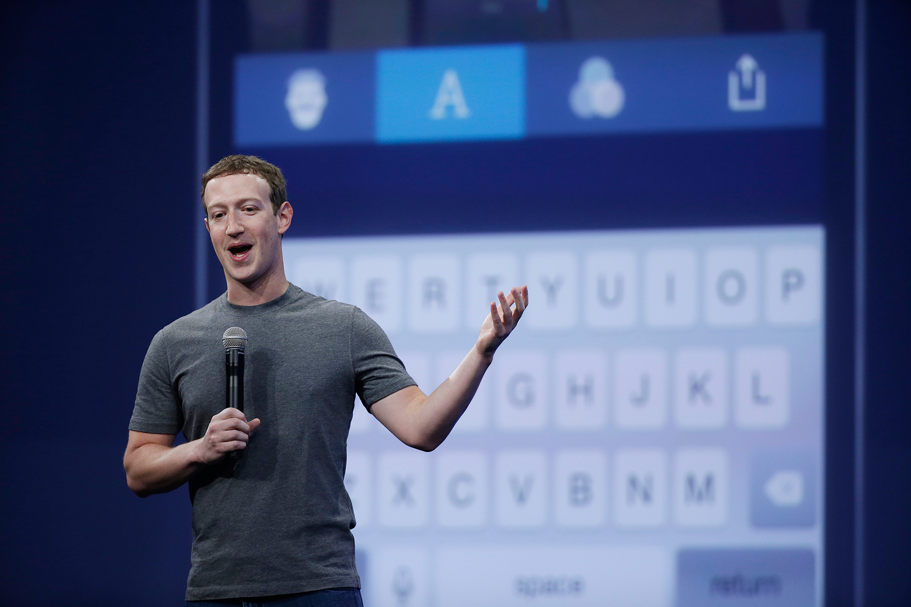 FILE - In this March 25, 2015, file photo, Mark Zuckerberg talks about the Messenger app during the Facebook F8 Developer Conference in San Francisco. Facebook reports quarterly financial results on Wednesday, Nov. 4, 2015. (AP Photo/Eric Risberg, File)