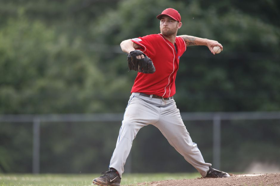 RJ Expos Charlie Hesseltine delivers a pitch Friday at Ceppa Field in Meriden July 6, 2018 | Justin Weekes / Special to the Record-Journal