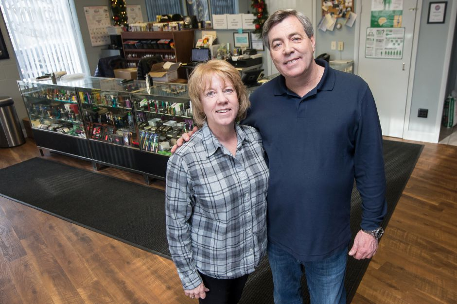 Pam and Tom Leary, owners of Silver City Vapors, said they're not opposed to an ordinance that would raise the legal age to 21 to buy vapor tobacco products on Weds. Jan. 2, 2019. | Justin Weekes / Special to the Record-Journal