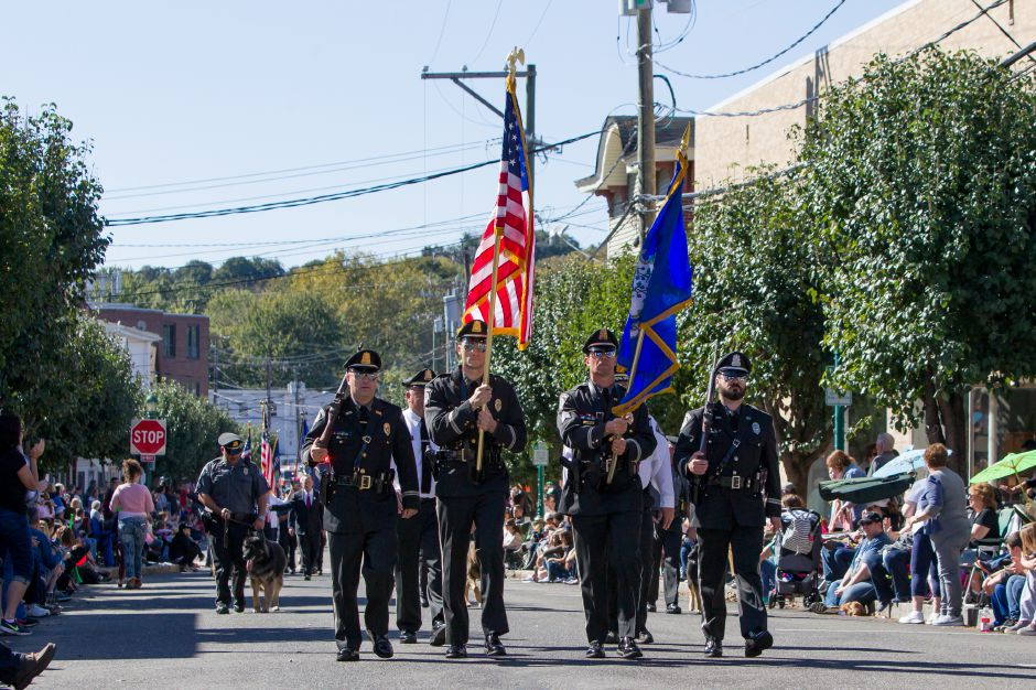 Southington Police color guard lead the start of the parade Sunday during the 49th Apple Harvest Parade in Southington October 1, 2017 | Justin Weekes / For the Record-Journal