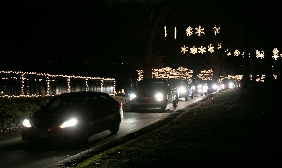 Motorists proceed through the park during the annual Festival of Silver Lights at Hubbard Park in Meriden, Tues., Nov. 26, 2019. Dave Zajac, Record-Journal