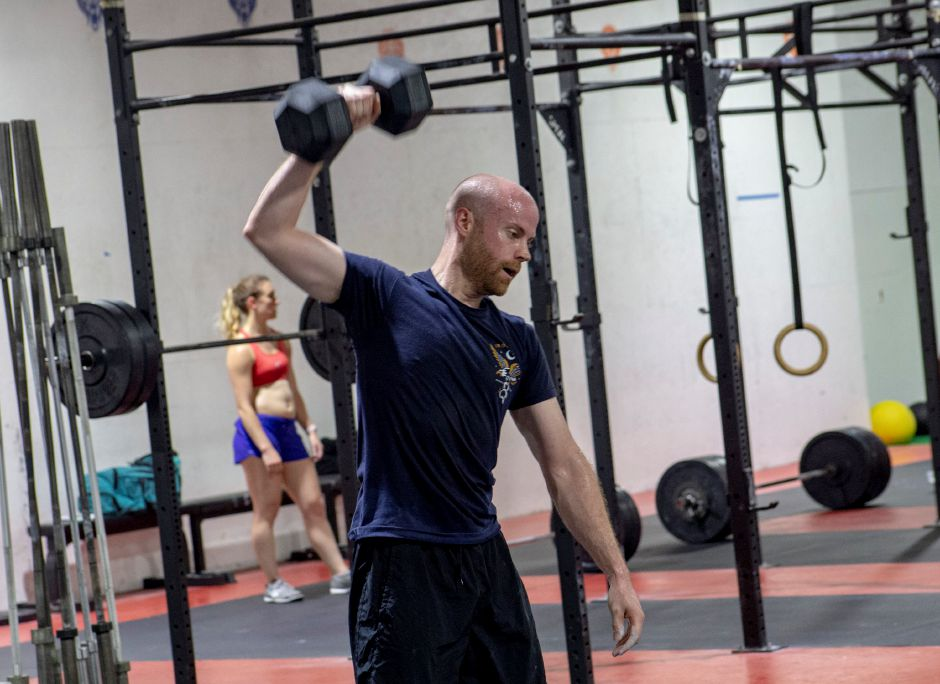 John Corkery works up a sweat during a Meriden Crossfit workout Aug. 29, 2018. | Richie Rathsack, Record-Journal