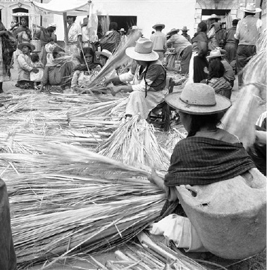 Men and women of Toluca, Mexico, hand-weave palms into floor mats, chairs and baskets, all big tourist attractions on August 31, 1955. The woman in the foreground has a child-bearing basket on her back. It's covered with a net to keep off flies and the sun. (AP Photo/Max Desfor)