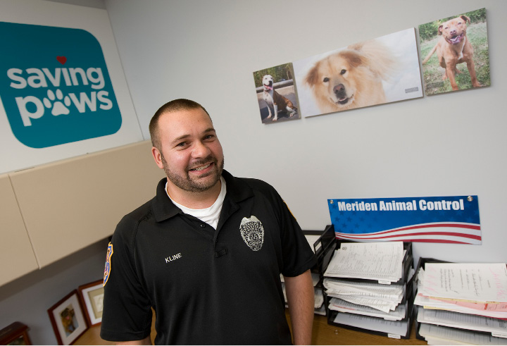 FILE PHOTO: Bryan Kline, animal control officer, has been voted Animal Control Officer of the Year by the Connecticut Municipal Animal Control Officers Association, Monday, September 19, 2016.  | Dave Zajac, Record-Journal
