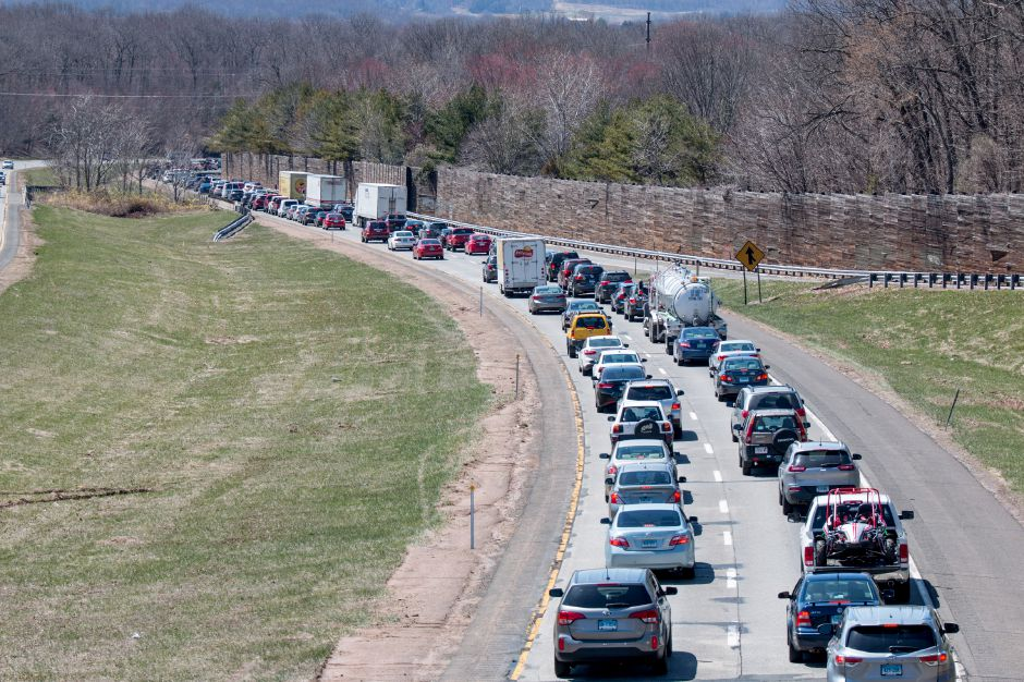 Traffic was delayed by two crashes on Interstate 691 in Southington Saturday afternoon. | Devin Leith-Yessian/Record-Journal