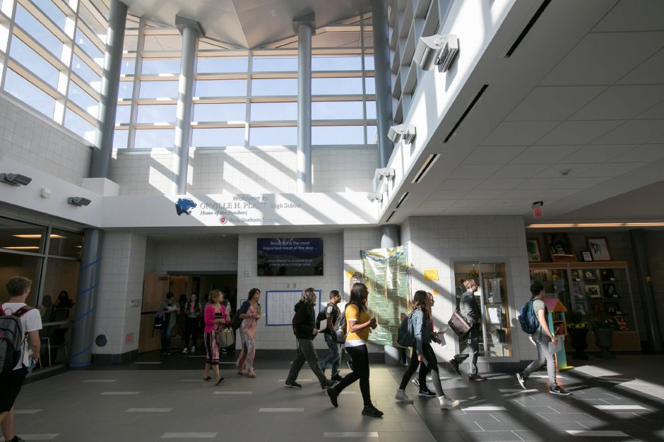 Students walk through the new entrance while changing classes at Platt High School in Meriden, Monday, August 28, 2017. | Dave Zajac, Record-Journal