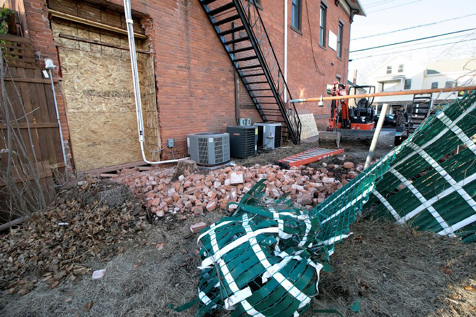Damage to the Hop Haus in Southington after the building was struck by a vehicle for the second time in less than six months, Monday, Feb. 12, 2018. Dave Zajac, Record-Journal