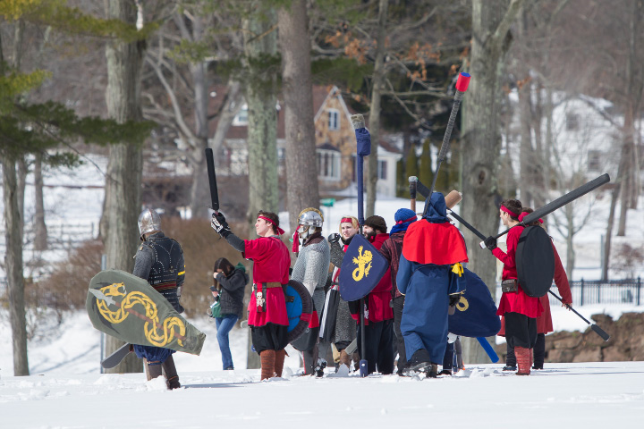 Groups get ready to start battle Saturday during a Dagorhir Medieval battle at Hubbard Park in Meriden. Chapters from New England participated in live battle.  Mar. 18, 2017 | Justin Weekes / For the Record-Journal
