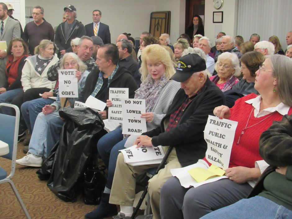A standing-room only crowd attended North Haven's Planning and Zoning Commission meeting, many in opposition to a proposed trucking facility, on Monday, Dec. 3, 2017. | Lauren Takores