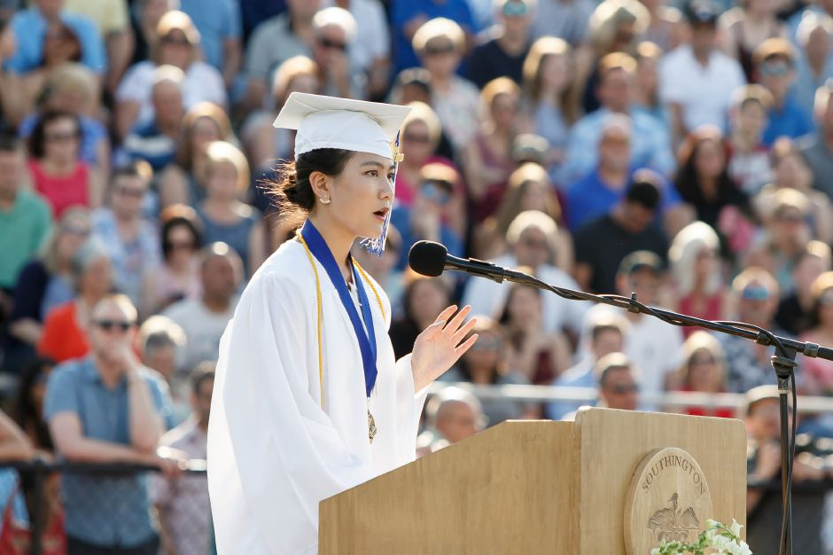 Valedictorian Lydia Yu delivers her speech Thursday during Southington High School Graduation ceremonies at Southington High School in Southington June 21, 2018 | Justin Weekes / Special to the Record-Journal
