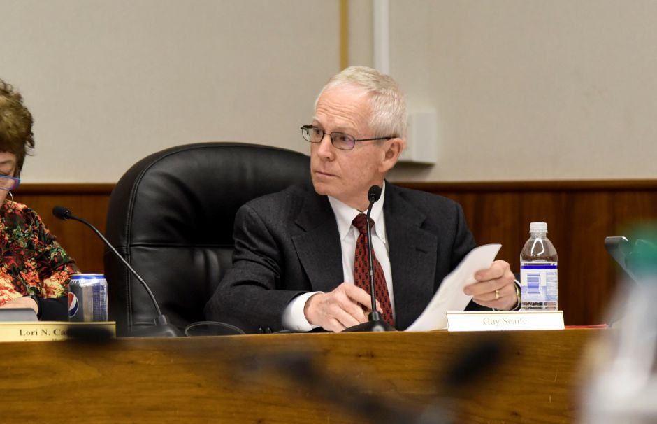 Former Meriden City Manager Guy Scaife at a city council meeting on Monday, Dec. 18. The council passed a resolution to terminate Scaife, effective immediately. | Bailey Wright, Record-Journal