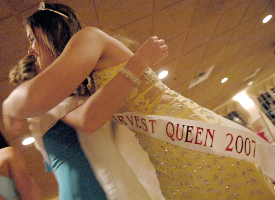 SOUTHINGTON, Connecticut - Thursday, September 20, 2007 - Moments after being crowned the Queen of the Apple Harvest, Rachel Harris 17, right, gets a hug from a Southington H. S. classmate who also was running for the title on Thursday night at the Apple Harvest Festival Kickoff Gala at the Aqua Turf. Rob Beecher / Record-Journal