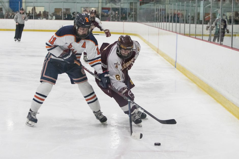 Two goals in the opening minutes of the third period from Joey Richo sealed Sheehan's 5-1 victory over the Lyman Hall Co-op Saturday night at Northford Ice Pavilion. | Justin Weekes / Special to the Record-Journal