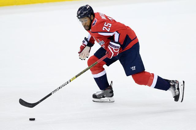 FILe - In this Dec. 31, 2018, file photo, Washington Capitals right wing Devante Smith-Pelly (25) skates with the puck during the third period of an NHL hockey game against the Nashville Predators, in Washington. As NHL teams move toward paying their stars more money and relying on young players to fill the gaps, hockey's middle class is being squeezed out. Veterans like 2018 Washington Capitals playoff hero Devante Smith-Pelly are finding it increasingly difficult to land guaranteed...