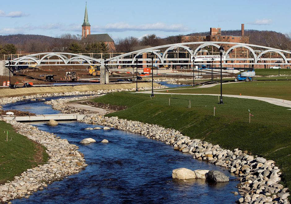 Harbor Brook runs through the Hub site in downtown Meriden, Monday, Jan. 11, 2016. As flood control, nearly everything on the site is designed to be submerged after heavy rains. | Dave Zajac / Record-Journal