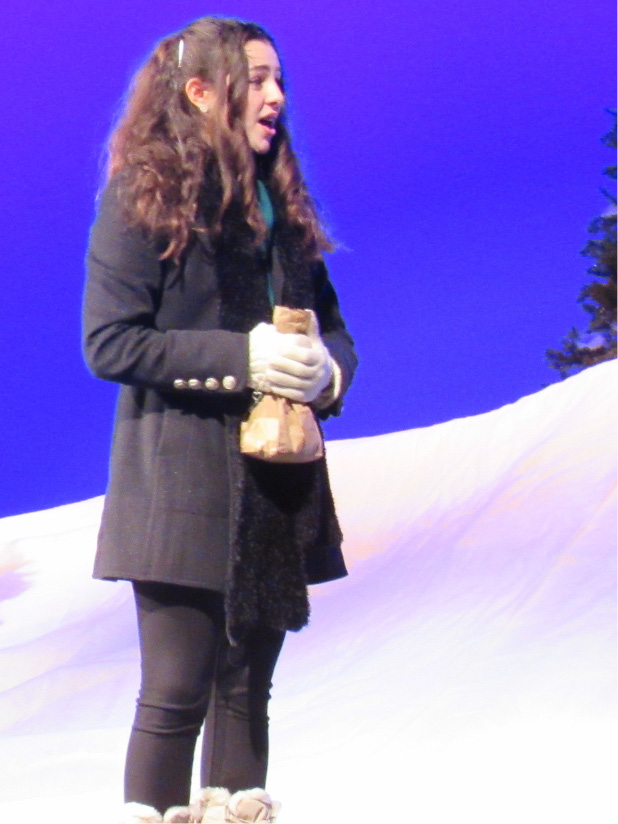 "Maloney High School freshman Brooke Lathe performs a scene from the play ""Almost, Maine"" at the school on Tuesday, Nov. 29, 2016. The play runs Thursday through Saturday."
