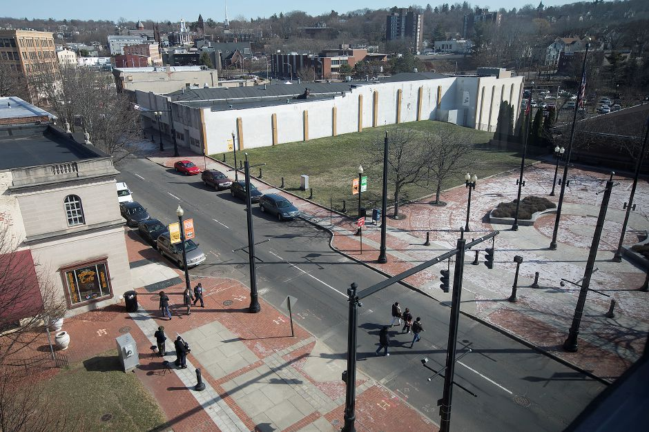 A view of West Main Street from the fifth floor of Middlesex Community College in Meriden, Monday, March 6, 2017. | Dave Zajac, Record-Journal