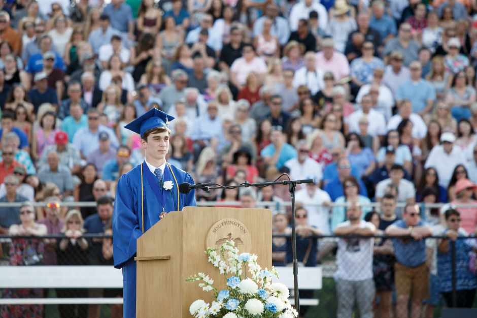 Evan Bender delivers the Essayist speech Thursday during Southington High School Graduation ceremonies at Southington High School in Southington June 21, 2018 | Justin Weekes / Special to the Record-Journal