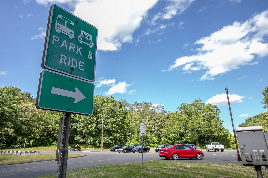 The commuter lot on Route 10 near the Interstate 691 interchange in Cheshire, Mon., June 3, 2019. Town officials could soon be marketing nearly 50 acres of state land east of the commuter lot off Interstate 691 to developers pending final legislative approval. Dave Zajac, Record-Journal