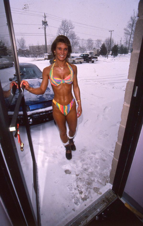 RJ file photo - Tina Lemay walks into A Shade Darker tanning salon in Wallingford Jan. 7, 1994.