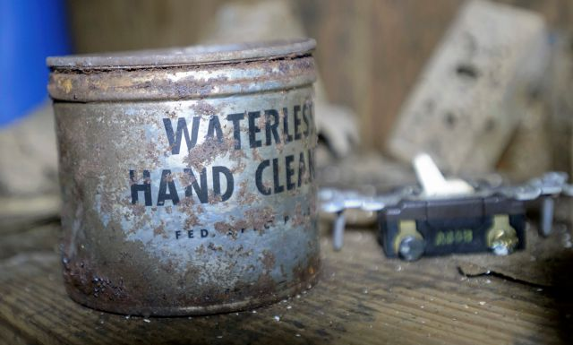 In this Tuesday, Sept. 26, 2017 photo, a container of waterless hand cleaner sits in a storage room inside an abandoned Cold War era Civil Defense bunker in New Orleans. Relics from the Cold War, the aging shelters that once numbered in the thousands in schools, courthouses and churches haven't been maintained. And conventional wisdom has changed about whether such a shelter system is necessary in an age when an attack is more likely to come from a weak rogue state or terrorist group rather than a superpower. (Max Becherer /The Advocate via AP)