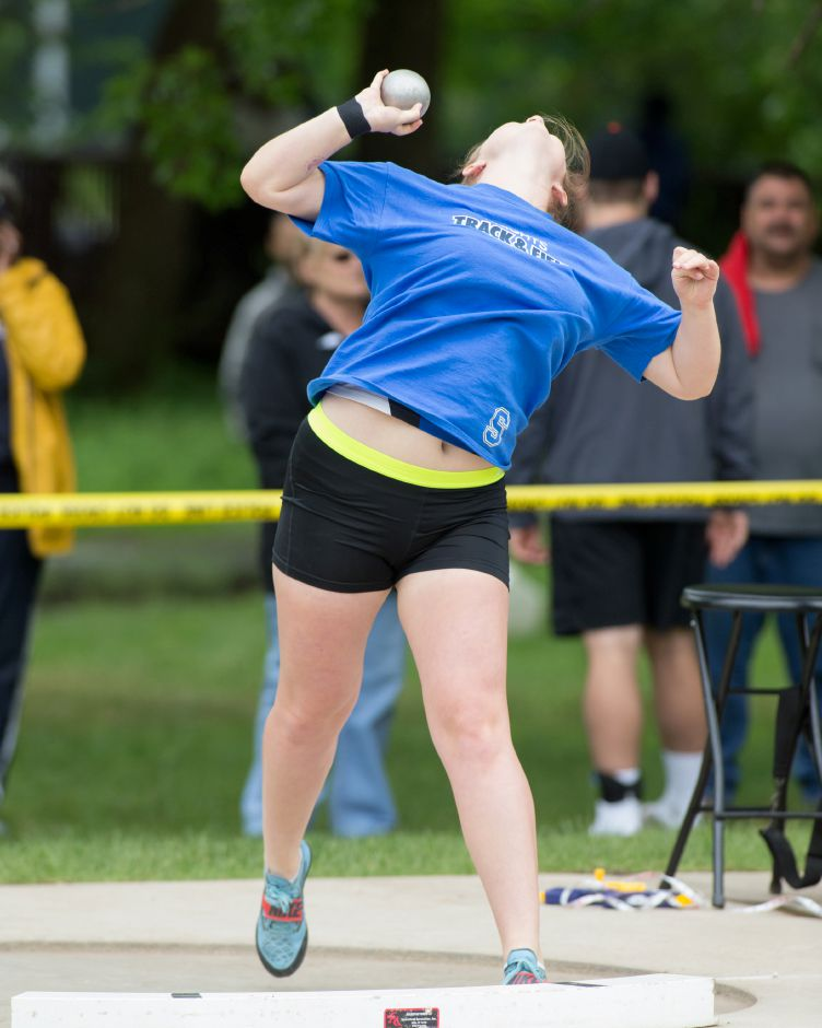 Southington senior Amanda Howe repeated as New England champion in the discus this weekend at the University of New Hampshire. The future Iowa Hawkeye also finished fourth in the shot put. | Justin Weekes / Special to the Record-Journal