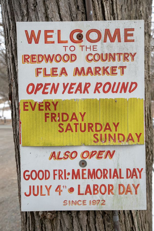 A sign posted at The Redwood Flea Market, 170 S. Turnpike Rd. in Wallingford, Wed., Feb. 20, 2019. The property and the business is up for sale. Dave Zajac, Record-Journal