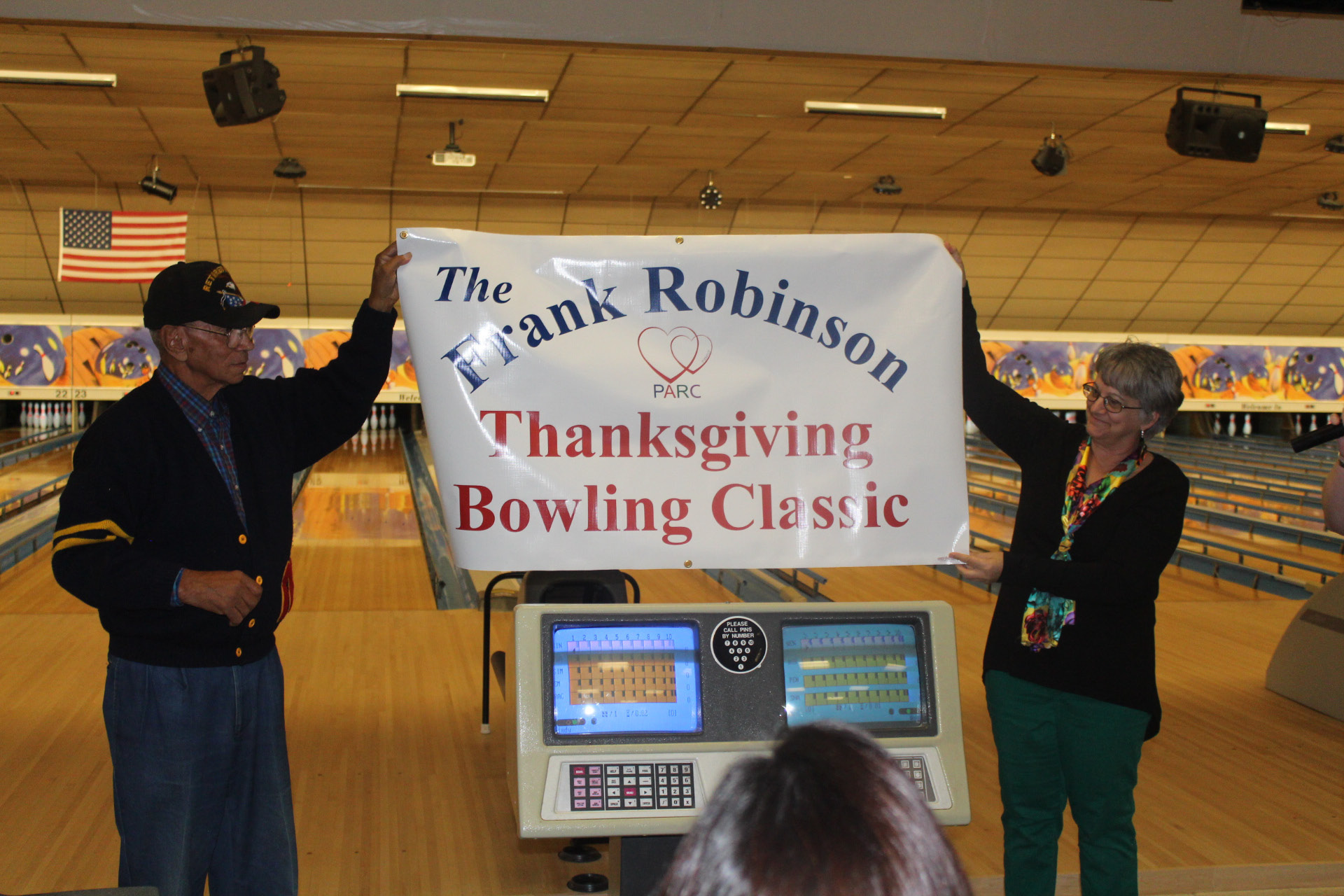 "PARC has renamed its annual bowling fundraiser the ""Frank Robinson Bowling Classic"" in honor of the longtime PARC board member.Robinson and PARC Board of Directors President June May are pictured."