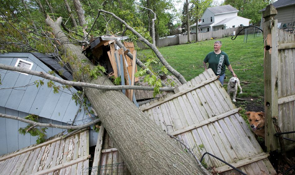 Leslie Valentine, of 20 Balsam Rd. in Wallingford, looks over damage to her backyard shed from a fallen tree with dogs Fenway, top, and Bishop, Thursday, May 17, 2018. Dave Zajac, Record-Journal