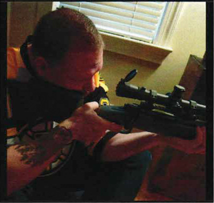 An image from the Facebook account of Ted Hakey Jr. in a federal affadavit charging him with firing shots into a Meriden Mosque. |
