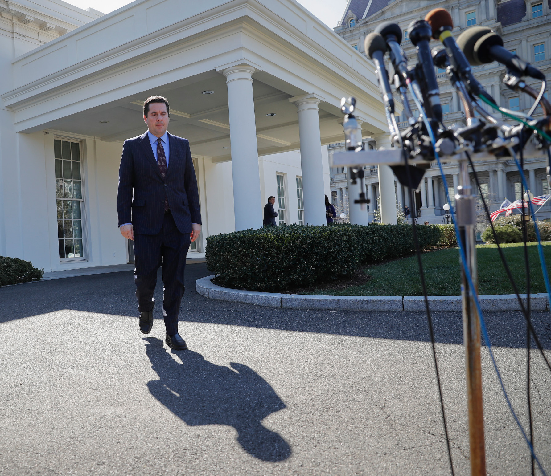 House Intelligence Committee Chairman Rep. Devin Nunes, R-Calif, walks out of the White House in Washington, Wednesday, March 22, 2017,to speak with reporters after a meeting with President Donald Trump. (AP Photo/Pablo Martinez Monsivais)