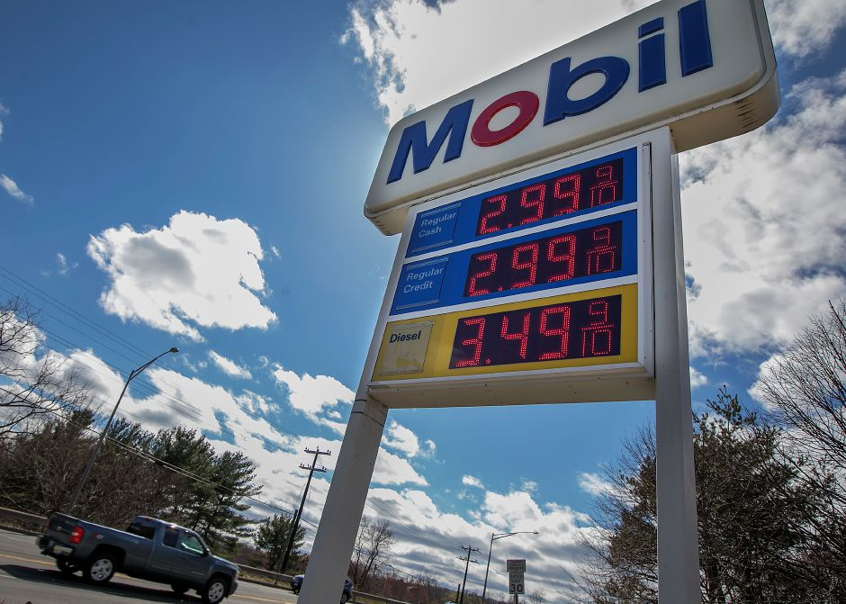 Mobil gas price $2.99 per gallon on East Main Street in Meriden, Wednesday afternoon, April 18, 2018. Regional gas prices surged again this week after oil prices jumped to nearly $67 per barrel, the highest level since 2014. Dave Zajac, Record-Journal