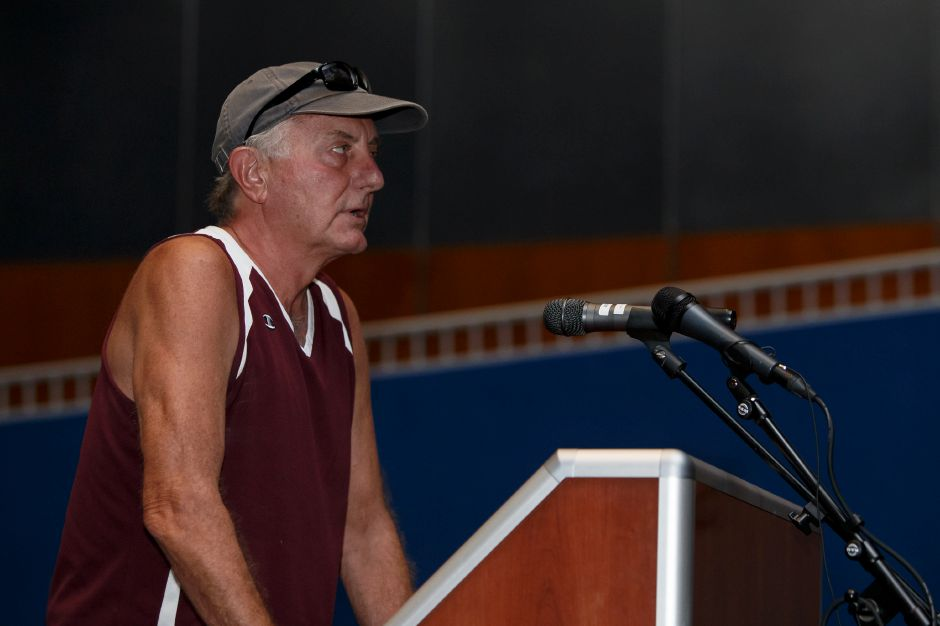 Meriden resident Whit Gardiner speaks Thursday during a public hearing with the Meriden Finance Committee to speak about the tax increase at Lincoln Middle School in Meriden August 9, 2018 | Justin Weekes / Special to the Record-Journal