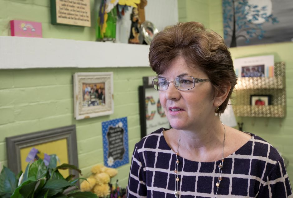 Nancy Maier, eighth-grade teacher at Our Lady of Mount Carmel School, talks about the addition of students from St. Joseph School after it was announced that school would be closing in the summer, Wednesday, March 29, 2017. | Dave Zajac, Record-Journal