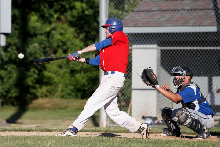 It was a tough finish for player/manager Sean Zapatka and the Record-Journal Expos, who went two-and-out in the Greater Hartford Twilight Baseball League postseason tournament after going 17-7 and finishing in second place during the regular season. | Justin Weekes / Special to the Record-Journal