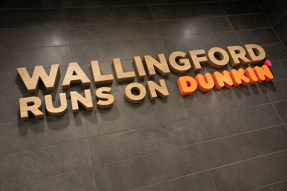 A new sign on an interior wall at the newly renovated Dunkin