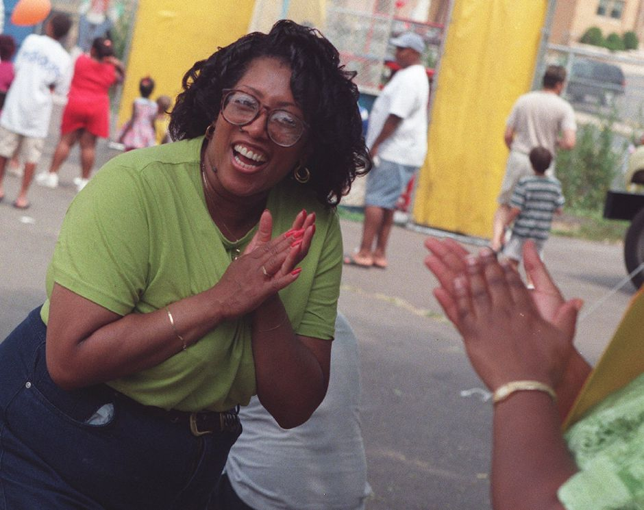 Jackie Garcia reacts upon hearing that she has won first place in the pie contest July 24, 1999.