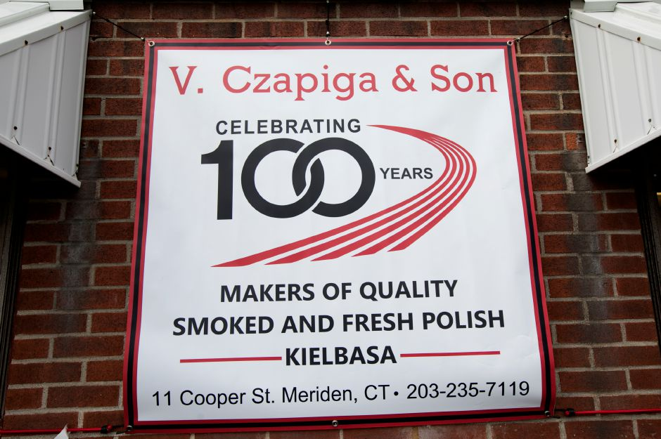 A sign on the front of V. Czapiga & Son in Meriden, Friday, June 22, 2018. The business is celebrating 100 years. Dave Zajac, Record-Journal