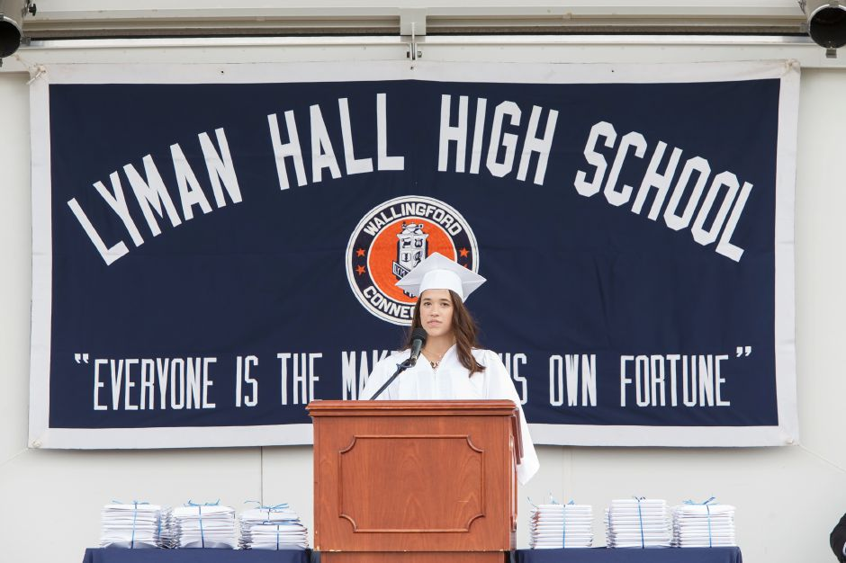 Daniella Chasse delivers the class President address Friday during Lyman Hall High School