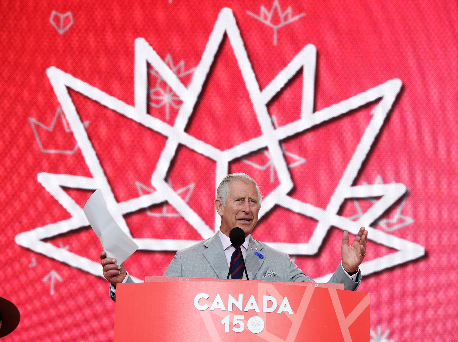 Prince Charles speaks during celebrations for Canada