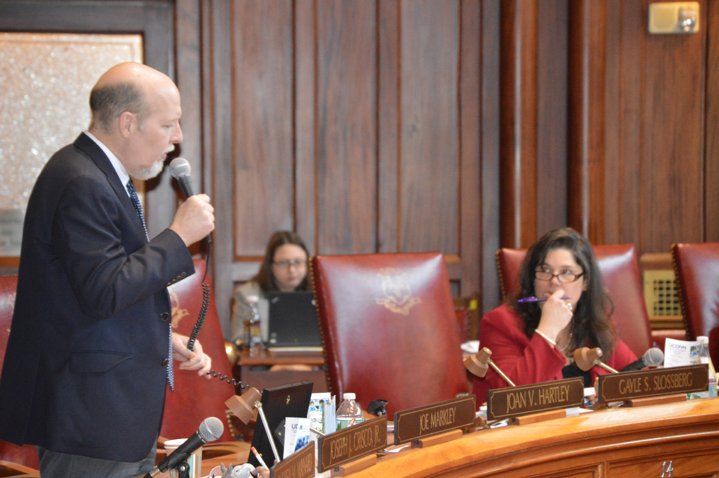 FILE PHOTO: State Sen. Joe Markley, R-Southington, discusses the budget during a special session held by the Senate on Thursday. State Sen. Dante Bartolomeo, D-Meriden, is pictured in the background. | Mike Savino/Record-Journal